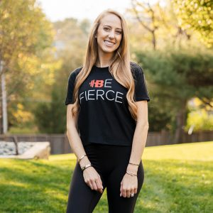"Brittany Lynne Fitness ""Be Fierce"" Cropped T-shirt from the front"