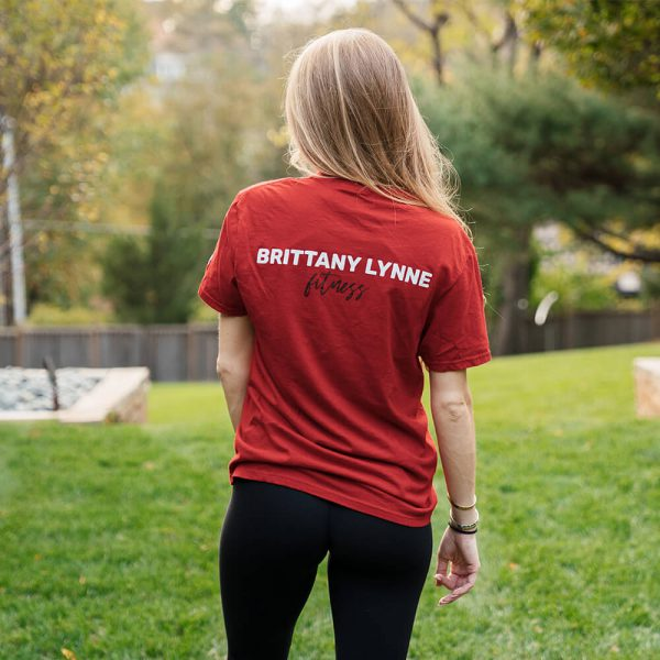 Brittany Lynne Fitness Red T-Shirt from the back