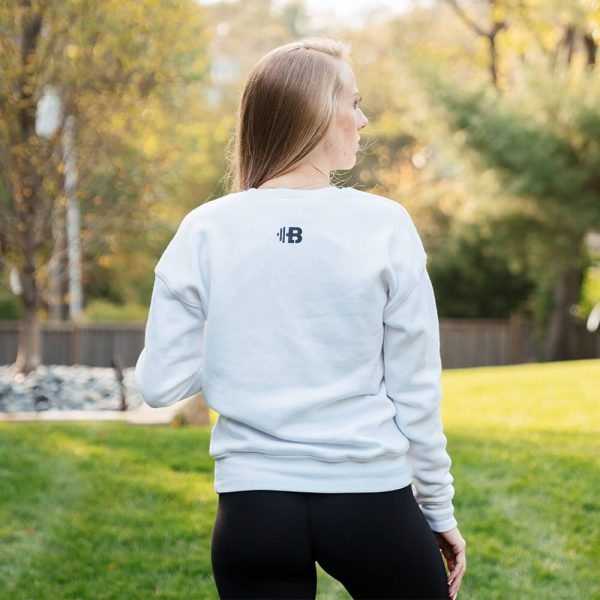 Brittany Lynne Fitness White Crewneck from the back