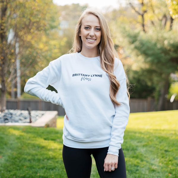 Brittany Lynne Fitness White Crewneck from the front