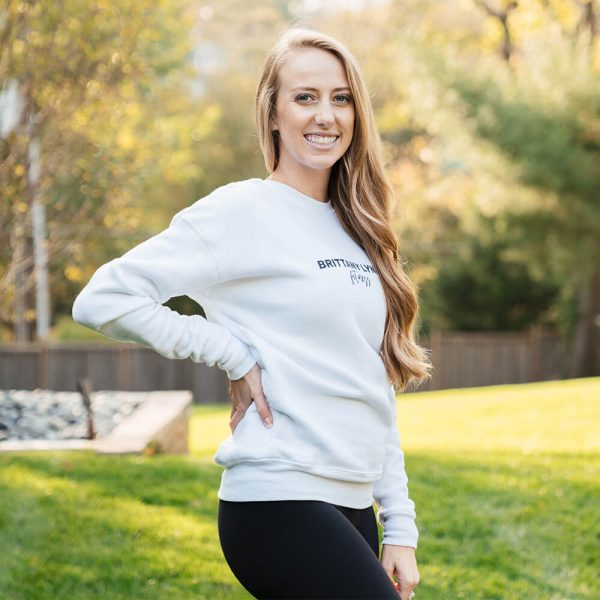 Brittany Lynne Fitness White Crewneck from the side